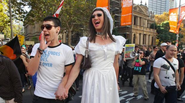 Supporters of gay marriage protested outside Sydney's Town Hall.