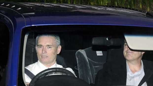 Speaking out ... Craig Thomson, left, arrives at Channel Nine's Willoughby studios yesterday.