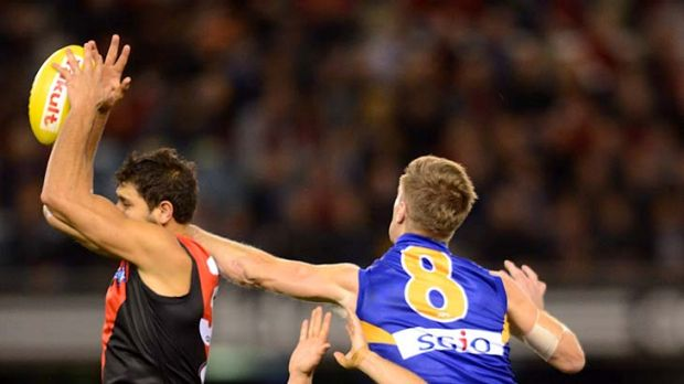 Bombers away: Paddy Ryder marks in front of Beau Waters and Sam Lonergan.