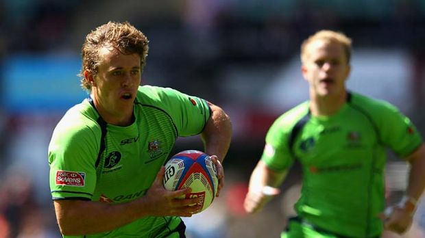 Damon Anderson of Australia in action against Scotland. Australia will play Argentina in the quarter-finals.