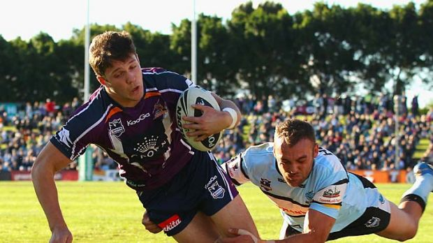 Matt Duffie of the Storm scores in the corner.
