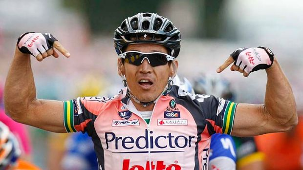 Inspiring: Robbie McEwen crashed on the Tour de France stage into Canterbury in 2007, but chased all the way to win the ...
