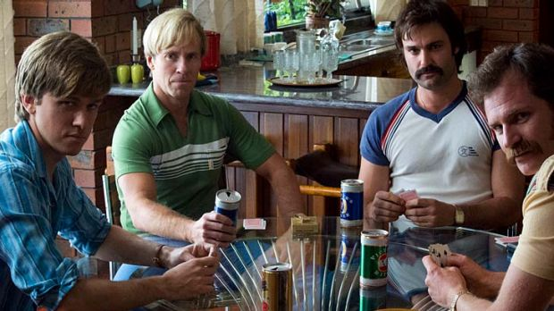 Actors in the WSC mini-series <i>Howzat!</i> re-create the roles played by (from left) John Cornell, Paul Hogan, Dennis ...