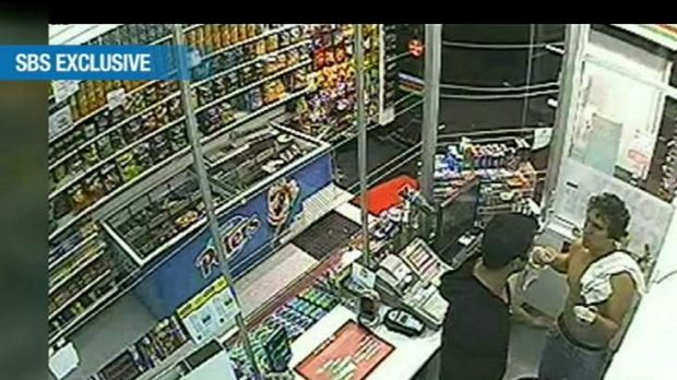 A still from the convenience store footage.