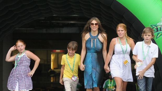Mummy wars ... Elizabeth Hurley with son Damian, in yellow, and Shane Warne's children, from left, Summer, Brooke and ...
