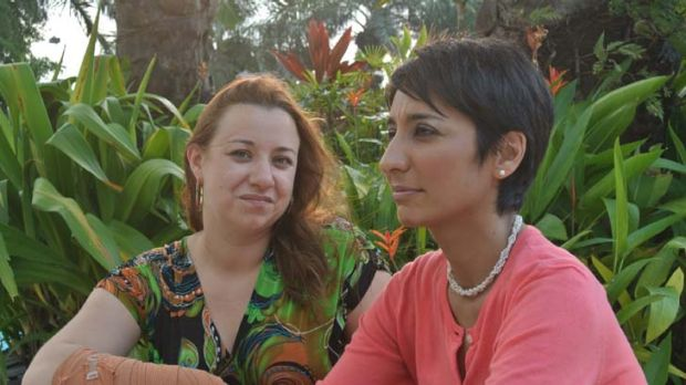 Fears ... author Irshad Manji, right, with Emily Rees, who was bashed by Islamic extremists.