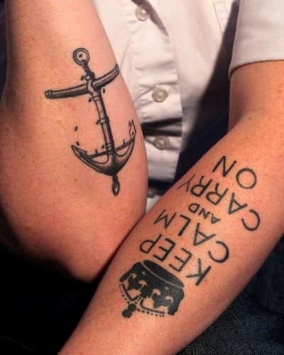 Chef Brydie Smith's tattooed arms.