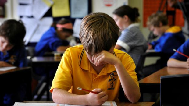A primary school pupil sitting the NAPLAN test.