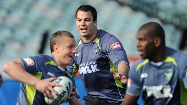 Canberra Raiders Captain's Run at Canberra Stadium. Captain, David Shillington, amongst the action with team mates, Jack ...