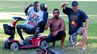 William Mathieson,Jason Harrison and Robert Harper at the Musgrave park tent Embassy, Brisbane. 31st of March 2012. ...