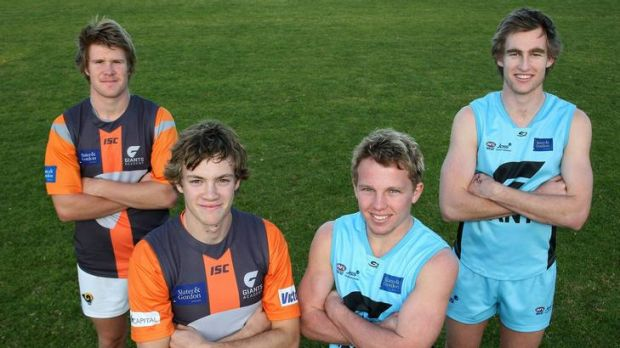 Under-18s NSW-ACT Rams squad members, from left, Jedd Clothier, Lachlan Harper, Sam Jensen and Liam Flaherty at Giants ...