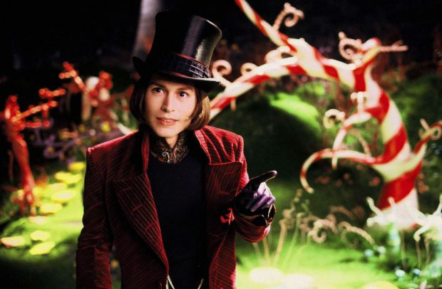 "Johnny Depp as the character Willy Wonka in a scene from ""Charlie and The Chocolate Factory""."