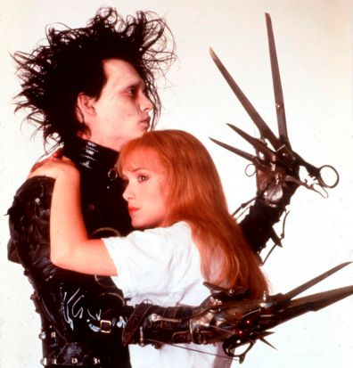 "Johnny Depp and Winona Ryder in the film ""Edward Scissorhands""."