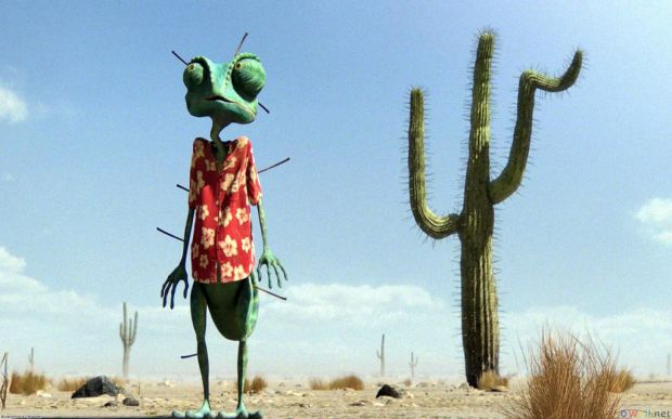 "Johnny Depp voiced the character ""Rango"". A Chameleon that finds himself in the wild west."