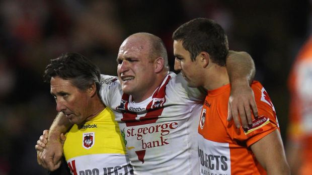 Michael Weyman is carried from the field after rupturing his ACL against Penrith on Monday. He will miss the season ...