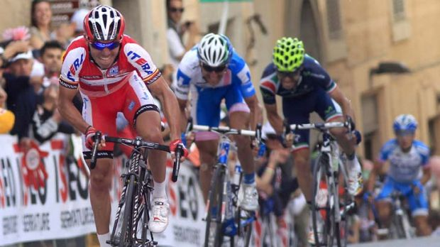 In charge: Joaquim Rodriguez races to victory in the 10th stage of the Giro d'Italia.