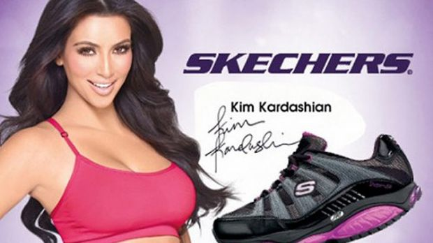 Big promise ... Kim Kardashian endorses the Skechers sneakers that customers are now entitled to refunds for.