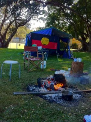 Protesters' new tent embassy at Musgrave Park.