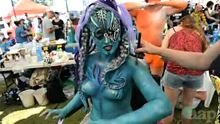 Model Ursula Darnsteeg is decorated as a cyborg mermaid at the Australian Body Art Carnivale in Eumundi on the Sunshine ...