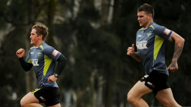 Canberra Raiders training at West Belconnen Leagues club yesterday morning - Josh McCrone and Josh Dugan.