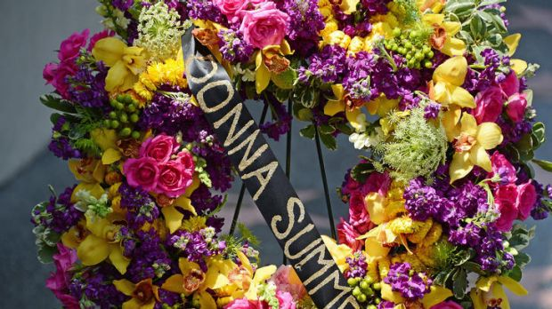 Tribute ... a memorial wreath is placed on singer Donna Summer's star on the Hollywood Walk of Fame.