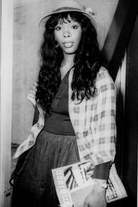 Donna Summer, 27, arriving at Heathrow Airport from Paris.