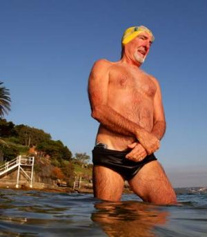Almost there … Murray Cox has one more swim today to complete a campaign to swim the shoreline of Sydney Harbour. ...
