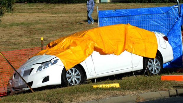 The male drive of the car was killed in the collision. Police cordoned off the scene.