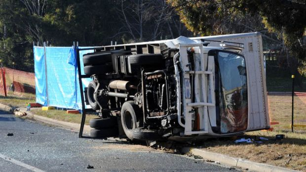 The truck was left on its side after the collision.