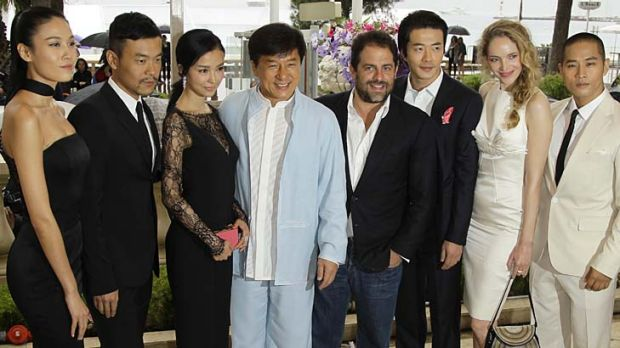 "Jackie Chan with his cast of 'Chinese Zodiac"" actors at the 65th international film Festival in Cannes, southern France."