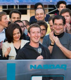 Hard to resist ... Mark Zuckerberg rings the opening bell of the Nasdaq stock market.