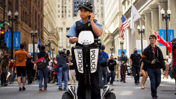 The huge security force includes officers on Segways.