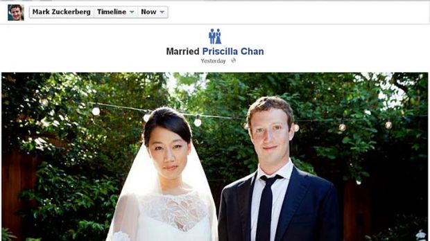 Facebook co-founder and CEO Mark Zuckerberg and Priscilla Chan are seen in this screengrab of a wedding photo posted on ...