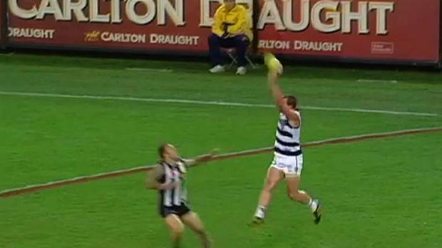 Ducking season: Geelong's Josh Hunt drops a sitter on Friday night.