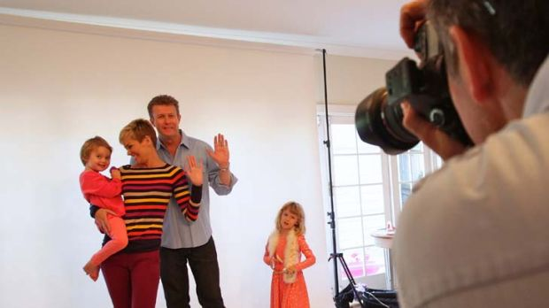 Hands on … Peter Overton and Jessica Rowe, with daughters Giselle, left, and Allegra, are snapped to promote the ...