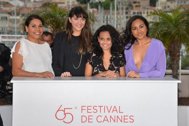 (from left) Australian actresses Deborah Mailman, Shari Sebbens, Miranda Tapsell and Jessica Mauboy pose during the ...