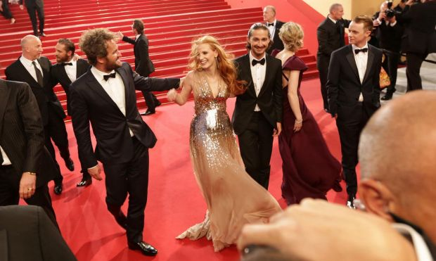 (from left) Australian musician and writer Nick Cave, actor Jason Clarke, US actress Jessica Chastain, US actor Shia ...