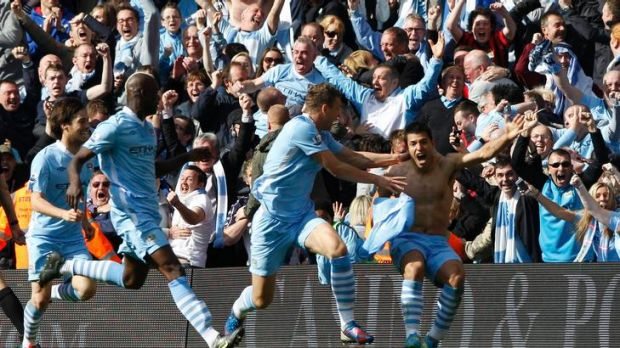 Manchester City striker Sergio Aguero celebrates the goal that ended the Blues' 44-year English title drought.