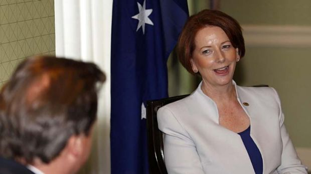 High-level talks ... Australian Prime Minister Julia Gillard meets British Prime Minister David Cameron.