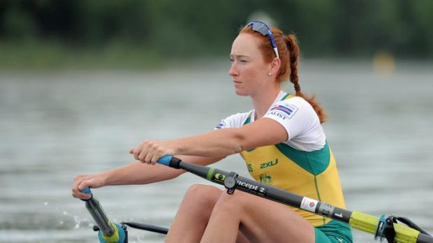 Olympic rowing hopeful Sarah Cook  trains on Lake Burley Griffin.