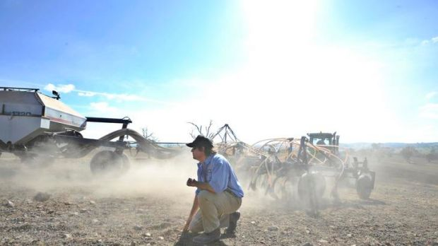 Farmer Tom Corkhill at Maneroo property near Boorowa after being contracted to sow the fields with Canola Seeds.