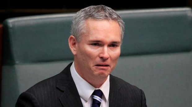 A tearful Craig Thomson during his speech to the House of Representatives yesterday.