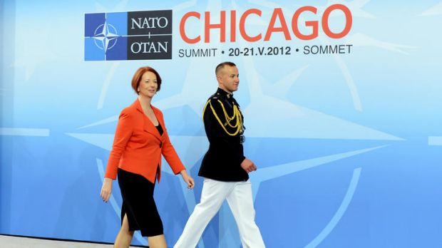 Julia Gillard arrives for a meeting on Afghanistan during the NATO Summit.
