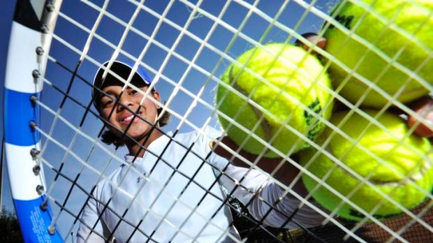 Annerly Poulos, 9, is rated as a future tennis star.