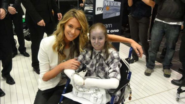 Constant campaigner … Rebecca Brewer with Jennifer Hawkins.
