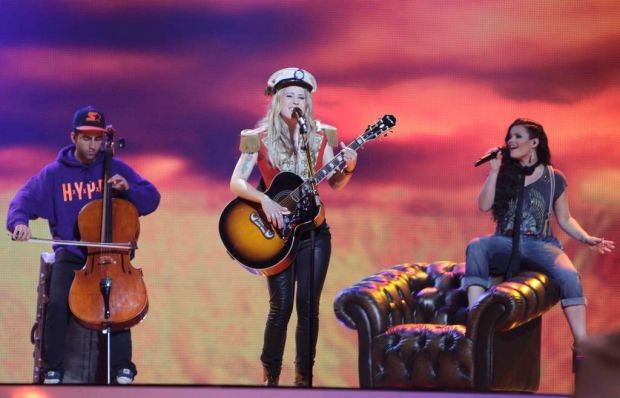 """Denmark's Soluna Samay (C) performs her song """"Should've Known Better""""."""