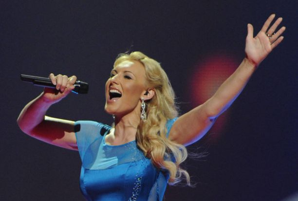 Latvia's Anmary performs during the First Semi-Final of the Eurovision 2012 song contest.