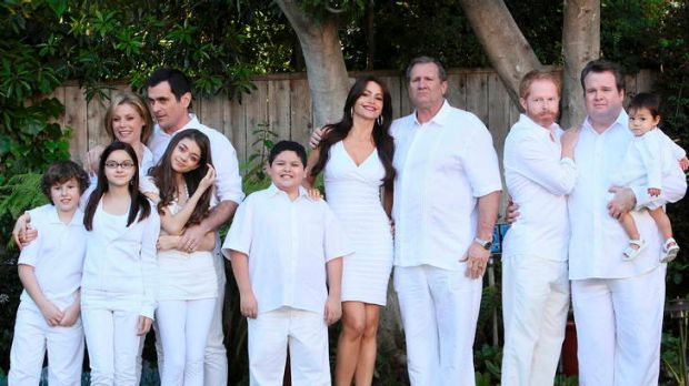 The cast of American sitcom <i>Modern Family</i>, starring Jesse Tyler and Eric Stonestreet (far right) attempts to ...