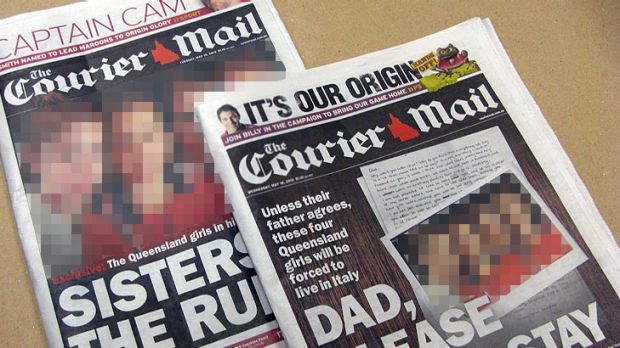 The Courier-Mail's coverage of the custody dispute on May 15 and 16. The girls' faces have been blurred by ...