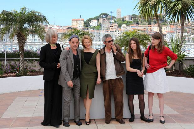 (From L) French actress Edith Scob, French actor Denis Lavant, Australian actress Kylie Minogue, French director Leos ...